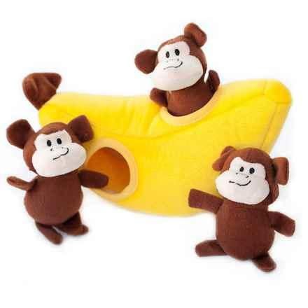 ZippyPaws Zippy Burrow Monkey 'n' Banana Dog Toy in Yellow/Brown - Closeouts