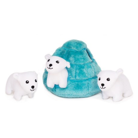 ZippyPaws Zippy Burrow Polar Bear Igloo Dog Toy - Squeaker in Blue/White