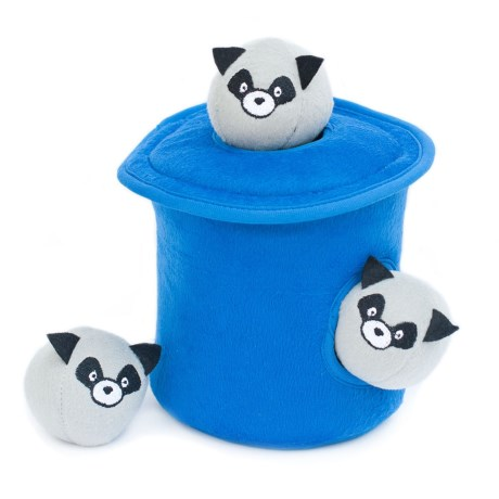 ZippyPaws Zippy Burrow Raccoons in a Trash Can Dog Toy in Blue/White/Black