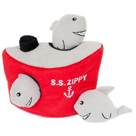 ZippyPaws Zippy Burrow Shark 'n Ship Dog Toy in Red/Gray