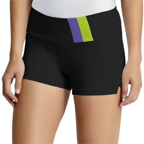 Zobha Asana Shorts (For Women) in Black/Perfect Purple/Pesto