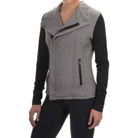 Zobha Jaden Herringbone Jacket - Asymmetrical Zip (For Women) in Phantom Heather - Closeouts