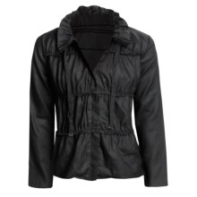Zoe D Washed Linen Jacket - Hidden Zip (For Women) in Black - Closeouts
