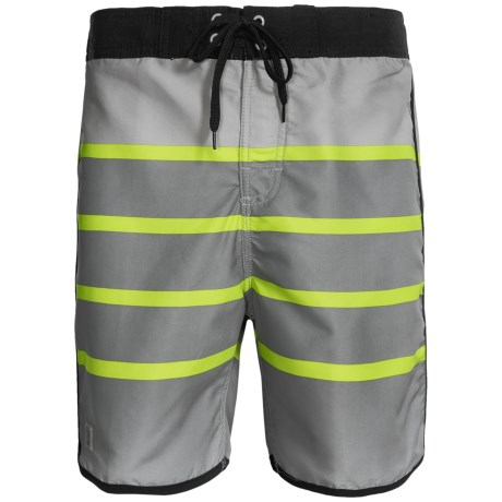 Zonal Swim Trunks - Built-In Shorts (For Men) in Neutral Grey/Lime