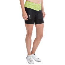 "Zoot Sports High-Performance Tri Bike Shorts - 6"" (For Women) in Honey Dew Static - Closeouts"