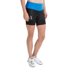 """Zoot Sports High-Performance Tri Bike Shorts - 6"""" (For Women) in Maliblue Static - Closeouts"""