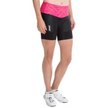 "Zoot Sports High-Performance Tri Bike Shorts - 6"" (For Women) in Pink Grapefruit Static - Closeouts"