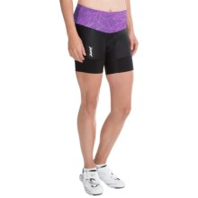 "Zoot Sports High-Performance Tri Bike Shorts - 6"" (For Women) in Purple Haze Static - Closeouts"