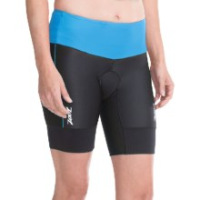 "Zoot Sports High-Performance Tri Shorts - UPF 50+, 8"" (For Women) in Black/Maliblue - Closeouts"