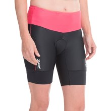 """Zoot Sports High-Performance Tri Shorts - UPF 50+, 8"""" (For Women) in Black/Pink Grapefruit - Closeouts"""