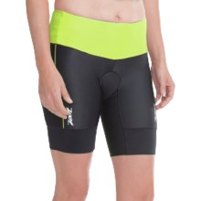 "Zoot Sports High-Performance Tri Shorts - UPF 50+, 8"" (For Women) in Black/Spring Green - Closeouts"