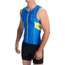 Zoot Sports High-Performance Tri Tank Top - UPF 50+, Full Zip (For Men) in Zoot Blue/Sub Atomic Yellow - Closeouts