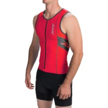 Zoot Sports High-Performance Tri Tank Top - UPF 50+, Full Zip (For Men) in Zoot Red/Black - Closeouts