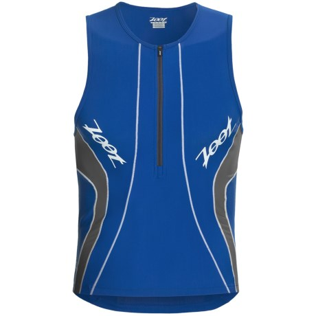 Zoot Sports High-Performance Tri Tank Top - UPF 50+, Zip Neck (For Men) in Zoot Blue/Graphite
