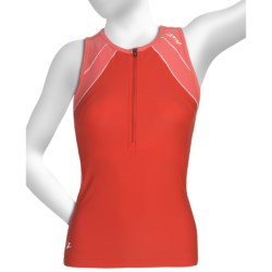 Zoot Sports High-Performance Tri Tank Top - Zip Neck, UPF 50+, Built-In Bra (For Women) in Poppy/Dawn/Pink