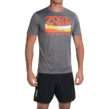 Zoot Sports Run Surfside Graphic T-Shirt - Short Sleeve (For Men) in Zoot Run/Black Heather/Solar Flare - Closeouts