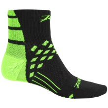 Zoot Sports TT Cycling Socks - Quarter Crew (For Men and Women) in Black/Flash - Closeouts