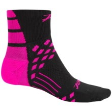 Zoot Sports TT Cycling Socks - Quarter Crew (For Men and Women) in Black/Pink - Closeouts