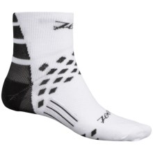 Zoot Sports TT Cycling Socks - Quarter Crew (For Men and Women) in White/Black - Closeouts