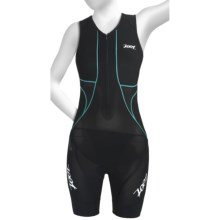 Zoot Sports Ultra Tri Race Suit - UPF 50+, Zip Neck, Built-In Bra (For Women) in Black/Aruba - Closeouts