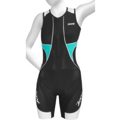 Zoot Sports Ultra Tri Race Suit - UPF 50+, Zip Neck, Built-In Bra (For Women) in Black/White/Aruba