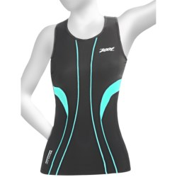 Zoot Sports ULTRA Tri Racerback Top - UPF 50+, Built-In Bra (For Women) in Black/White/Aruba