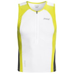 Zoot Sports Ultra Tri Tank Top - UPF 50+, Zip Neck (For Men) in Black/White