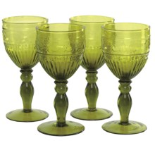 Zrike Swirl Vintage Goblets - Set of 4, Glass in Green - Closeouts