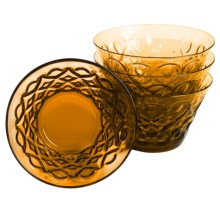Zrike Teardrop Pressed Glass All-Purpose Bowls - Set of 4 in Amber - Closeouts
