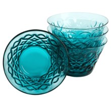 Zrike Teardrop Pressed Glass All-Purpose Bowls - Set of 4 in Blue - Closeouts